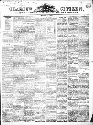 cover page of Glasgow Citizen published on October 26, 1844