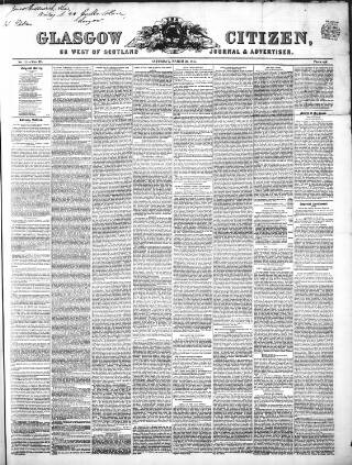 cover page of Glasgow Citizen published on March 22, 1845
