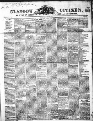 cover page of Glasgow Citizen published on December 6, 1845