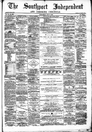 cover page of Southport Independent and Ormskirk Chronicle published on May 9, 1866