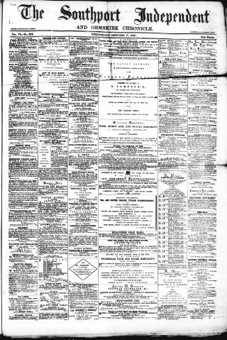 cover page of Southport Independent and Ormskirk Chronicle published on October 17, 1866