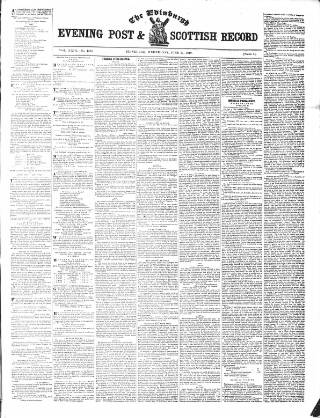 cover page of Edinburgh Evening Post and Scottish Standard published on June 27, 1849