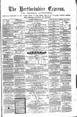cover page of Hertfordshire Express and General Advertiser published on October 18, 1862
