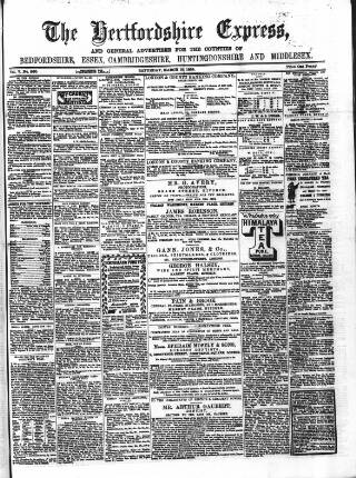 cover page of Hertfordshire Express and General Advertiser published on March 19, 1864