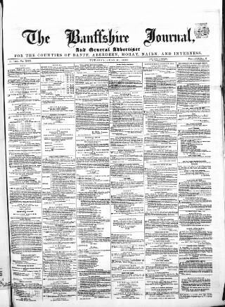 cover page of Banffshire Journal and General Advertiser published on July 21, 1868