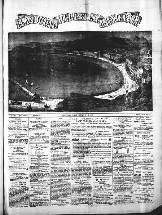 cover page of Llandudno Register and Herald published on February 22, 1889