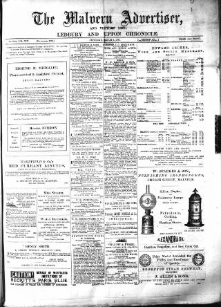 cover page of Illustrated Malvern Advertiser, Visitors' List, and General Weekly Newspaper published on March 3, 1877