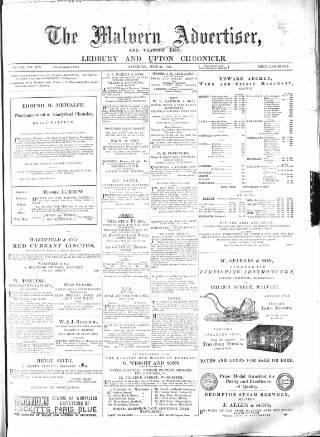cover page of Illustrated Malvern Advertiser, Visitors' List, and General Weekly Newspaper published on June 30, 1877