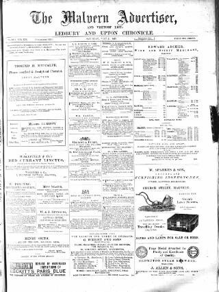 cover page of Illustrated Malvern Advertiser, Visitors' List, and General Weekly Newspaper published on July 21, 1877