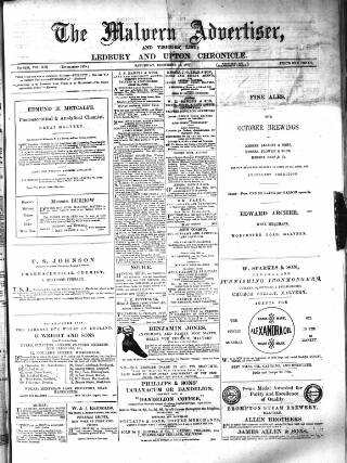 cover page of Illustrated Malvern Advertiser, Visitors' List, and General Weekly Newspaper published on December 15, 1877