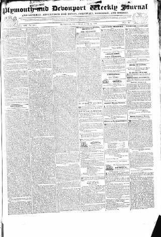 cover page of Plymouth and Devonport Weekly Journal and General Advertiser for Devon, Cornwall, Somerset and Dorset. published on June 14, 1832