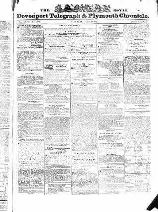 cover page of Royal Devonport Telegraph, and Plymouth Chronicle published on October 20, 1832