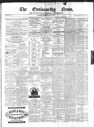cover page of The Enniscorthy News, and County of Wexford Advertiser. published on December 2, 1871