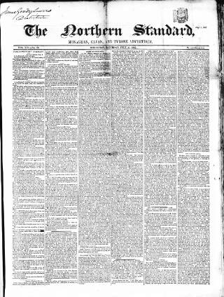 cover page of Northern Standard published on July 11, 1857