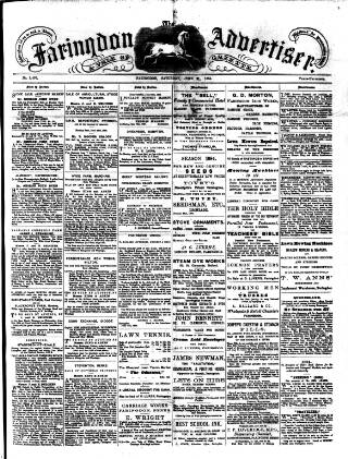 cover page of Faringdon Advertiser and Vale of the White Horse Gazette published on June 21, 1884