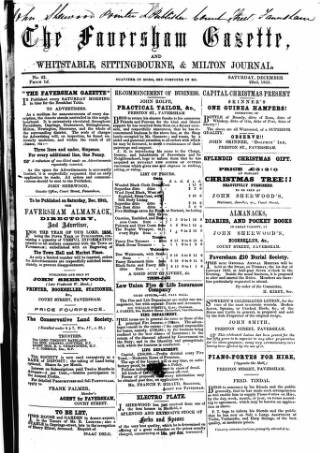 cover page of Faversham Gazette, and Whitstable, Sittingbourne, & Milton Journal published on December 15, 1855