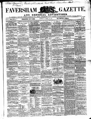 cover page of Faversham Gazette, and Whitstable, Sittingbourne, & Milton Journal published on October 17, 1857