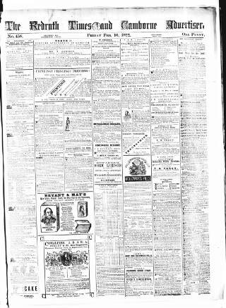 cover page of Cornubian and Redruth Times published on February 16, 1872