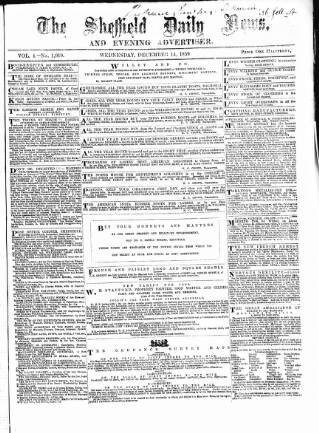 cover page of Sheffield Daily News, and Morning Advertiser published on December 14, 1859
