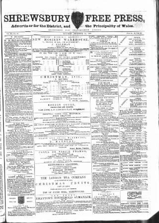 cover page of Shrewsbury Free Press, and Advertiser for Salop published on December 15, 1866