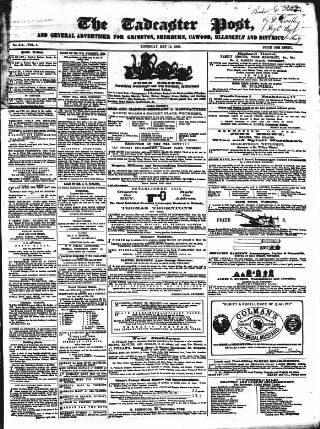 cover page of Tadcaster Post, and General Advertiser for Grimstone published on May 18, 1865