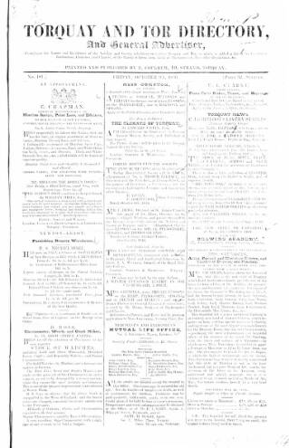 cover page of Torquay Directory and South Devon Journal published on October 9, 1846
