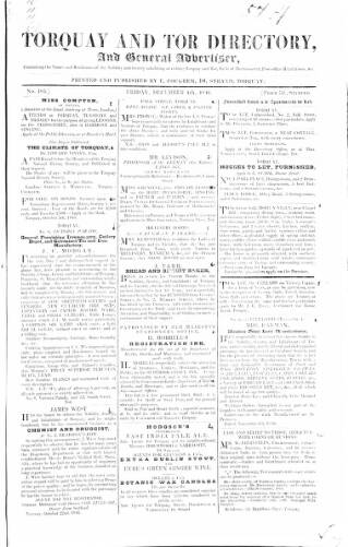 cover page of Torquay Directory and South Devon Journal published on December 4, 1846