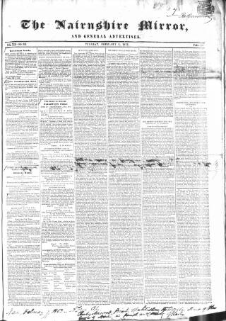 cover page of Nairnshire Mirror, and General Advertiser published on February 1, 1853