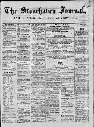 cover page of Stonehaven Journal published on April 24, 1856