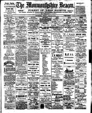 cover page of Monmouthshire Beacon published on July 22, 1910
