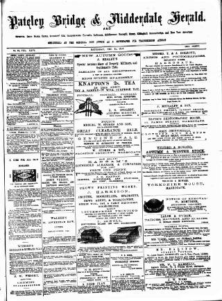 cover page of Pateley Bridge & Nidderdale Herald published on December 18, 1886