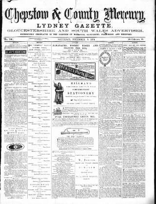 cover page of Chepstow Mercury, Volunteers' Gazette, Monmouthshire & South Wales Advertiser published on December 5, 1874