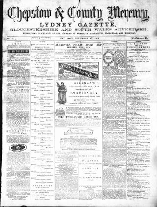 cover page of Chepstow Mercury, Volunteers' Gazette, Monmouthshire & South Wales Advertiser published on December 12, 1874