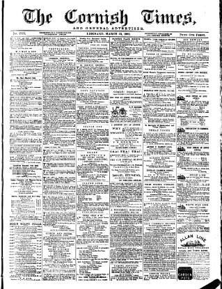 cover page of Cornish Times published on March 23, 1889