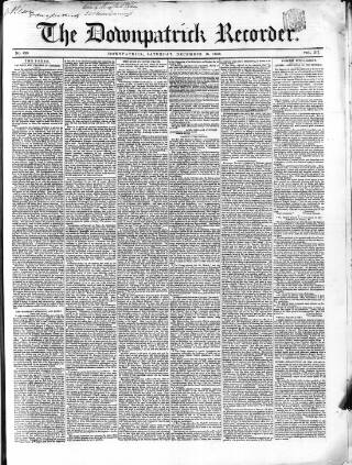 cover page of Downpatrick Recorder published on December 16, 1848