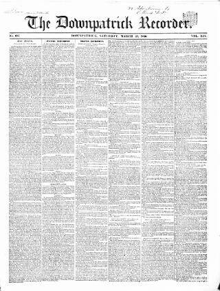 cover page of Downpatrick Recorder published on March 23, 1850