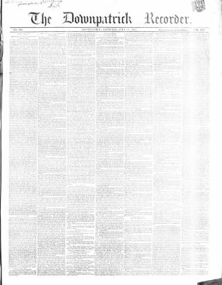 cover page of Downpatrick Recorder published on July 21, 1855