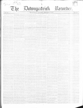 cover page of Downpatrick Recorder published on February 16, 1856