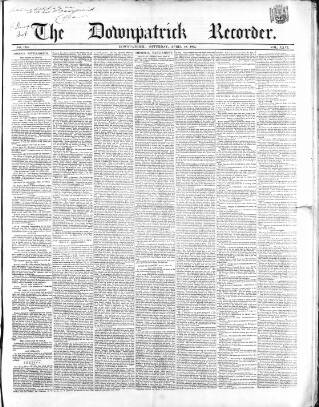 cover page of Downpatrick Recorder published on April 19, 1862