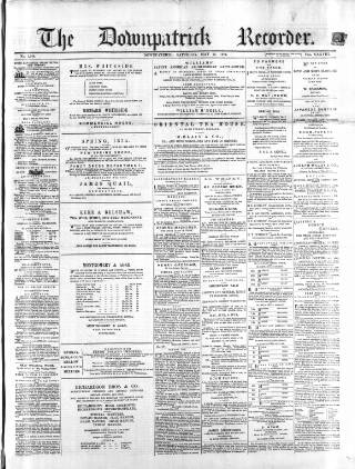 cover page of Downpatrick Recorder published on May 16, 1874