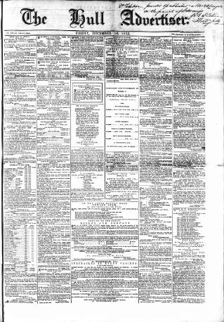 cover page of Hull Advertiser and Exchange Gazette published on December 16, 1853