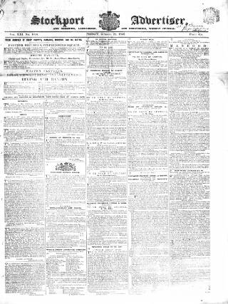 cover page of Stockport Advertiser and Guardian published on October 21, 1842