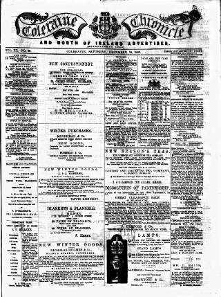 cover page of Coleraine Chronicle published on December 15, 1883