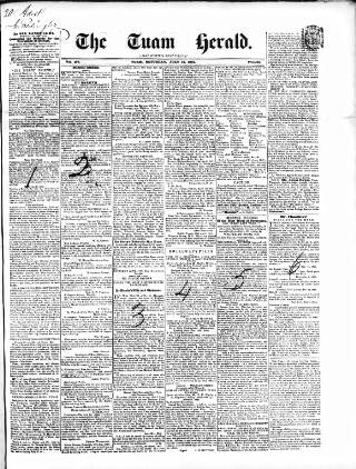 cover page of Tuam Herald published on July 19, 1851