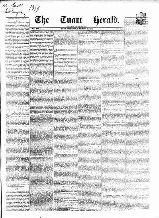 cover page of Tuam Herald published on December 11, 1852