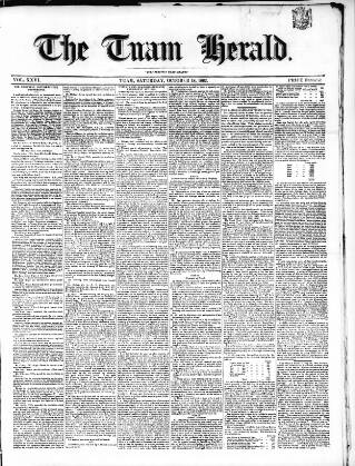 cover page of Tuam Herald published on October 18, 1862