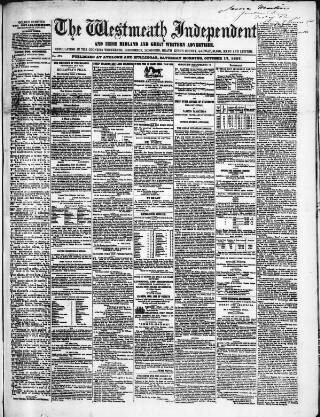 cover page of Westmeath Independent published on October 17, 1857