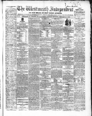 cover page of Westmeath Independent published on February 19, 1859