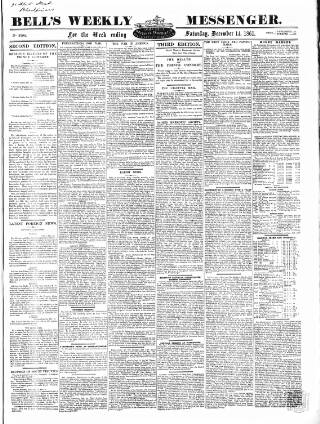 cover page of Bell's Weekly Messenger published on December 14, 1861