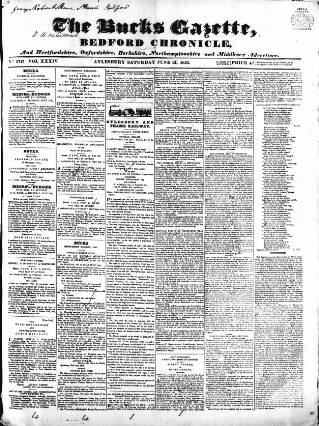 cover page of Bucks Gazette published on June 21, 1845